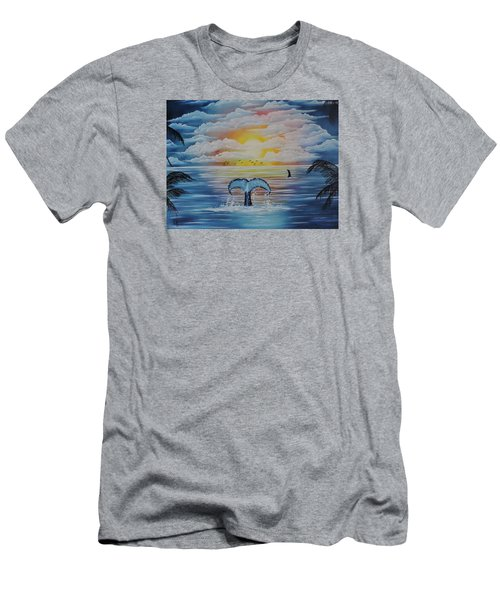 Men's T-Shirt (Slim Fit) featuring the painting Wale Tales by Dianna Lewis