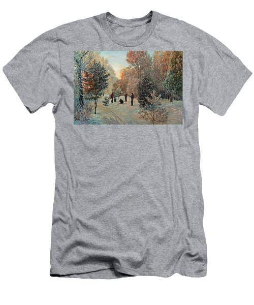 Walk To Skiing In The Winter Park Men's T-Shirt (Athletic Fit)