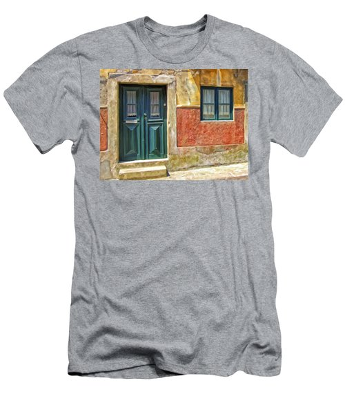 Men's T-Shirt (Slim Fit) featuring the painting Walking Through Vila De Conde by Michael Pickett