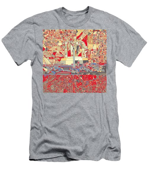 Washington Dc Skyline Abstract 6 Men's T-Shirt (Slim Fit) by Bekim Art