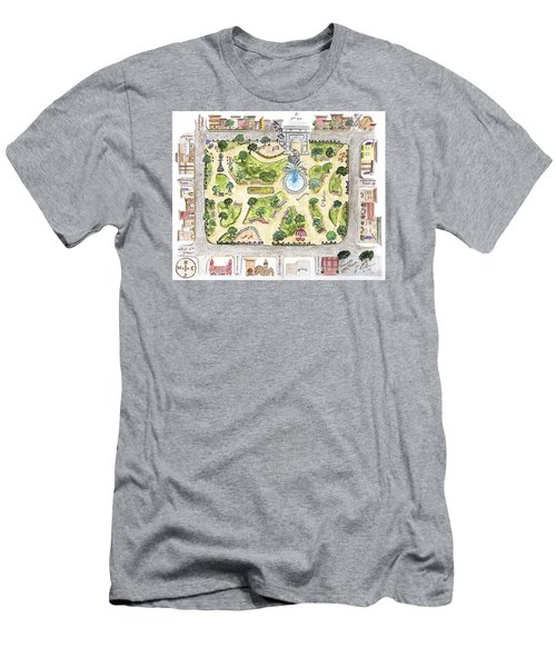 Washington Square Park Map Men's T-Shirt (Slim Fit) by AFineLyne
