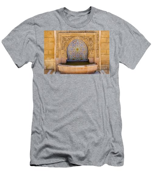 Men's T-Shirt (Slim Fit) featuring the photograph Water Fountain Mausoleum Of Mohammed V Opposite Hassan Tower Rabat Morocco  by Ralph A  Ledergerber-Photography