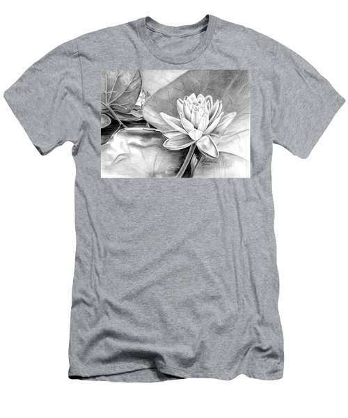 Men's T-Shirt (Slim Fit) featuring the drawing Water Lilly by Laurianna Taylor