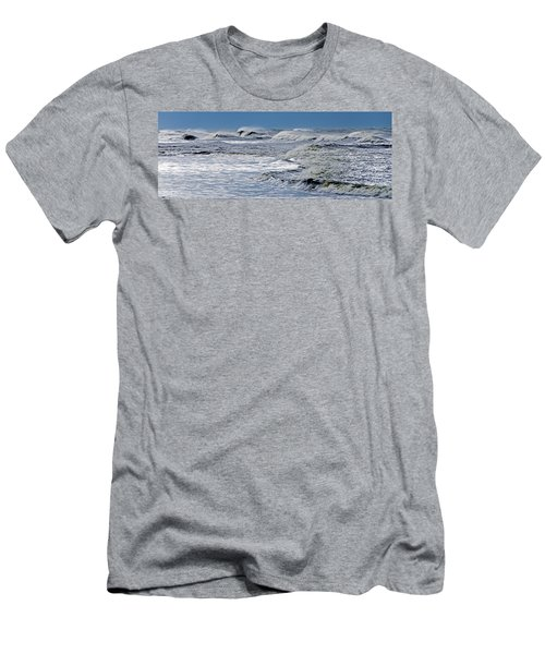 Waves Off Sandfiddler Rd Corolla Nc Men's T-Shirt (Slim Fit) by Greg Reed
