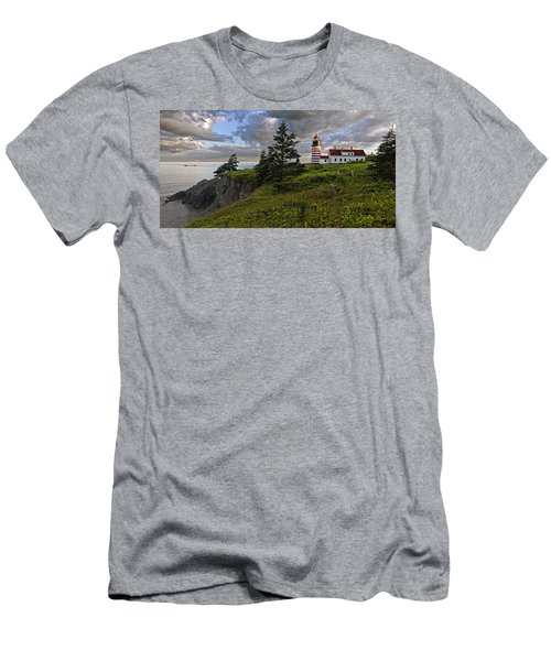 West Quoddy Head Lighthouse Panorama Men's T-Shirt (Slim Fit) by Marty Saccone