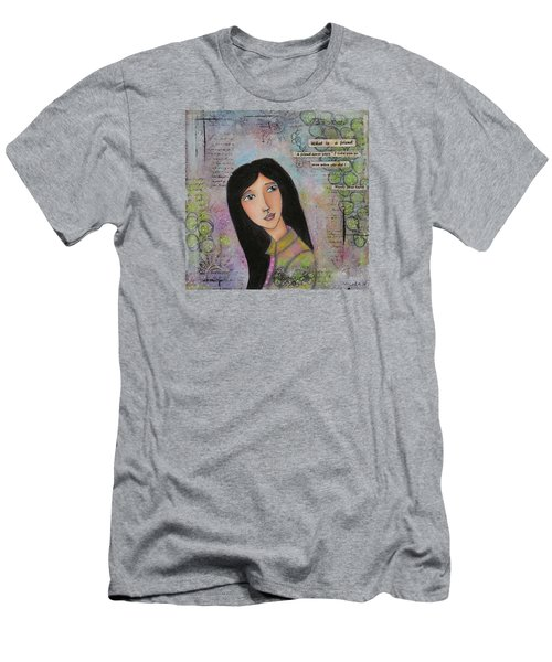Men's T-Shirt (Slim Fit) featuring the painting What Is A Friend ? by Nicole Nadeau