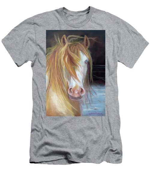 White Chocolate Stallion Men's T-Shirt (Slim Fit) by Karen Kennedy Chatham