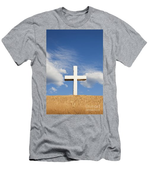 White Cross On Adobe Wall Men's T-Shirt (Athletic Fit)