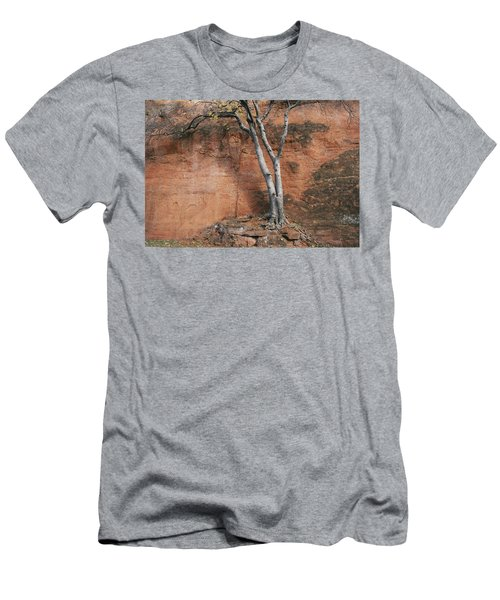 White Tree And Red Rock Face Men's T-Shirt (Athletic Fit)