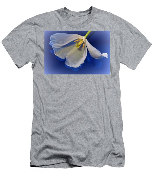 White Tulip On Blue Men's T-Shirt (Athletic Fit)