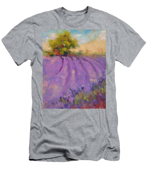 Men's T-Shirt (Athletic Fit) featuring the painting Wildrain Lavender Farm by Talya Johnson