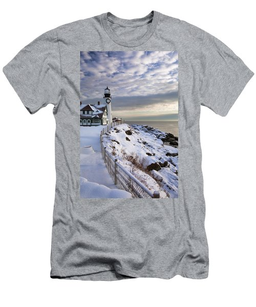 Winter At Portland Head Men's T-Shirt (Athletic Fit)