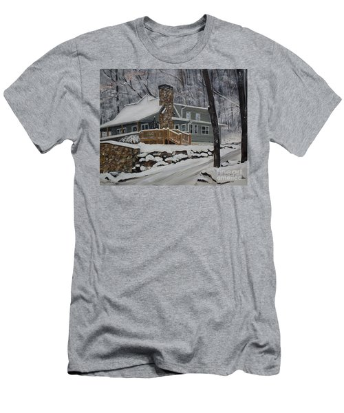 Winter - Cabin - In The Woods Men's T-Shirt (Athletic Fit)