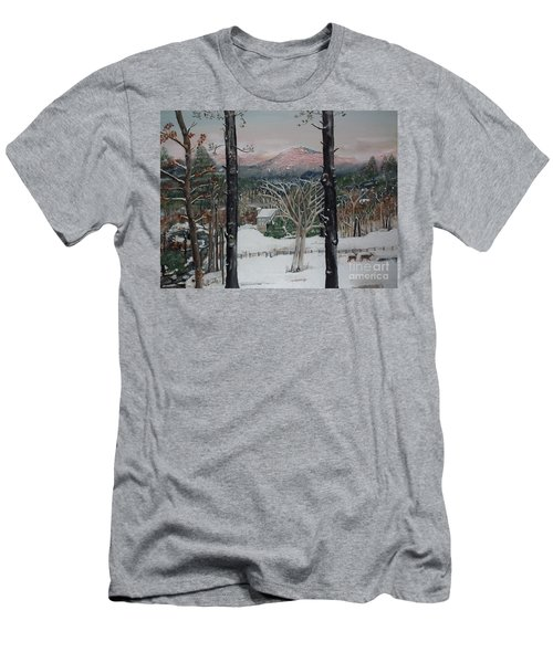 Winter - Cabin - Pink Knob Men's T-Shirt (Athletic Fit)