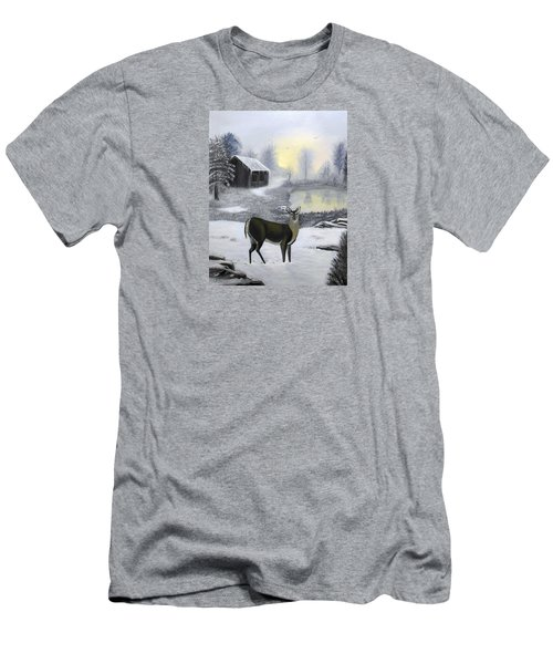 Men's T-Shirt (Slim Fit) featuring the painting Winter Doe by Sheri Keith