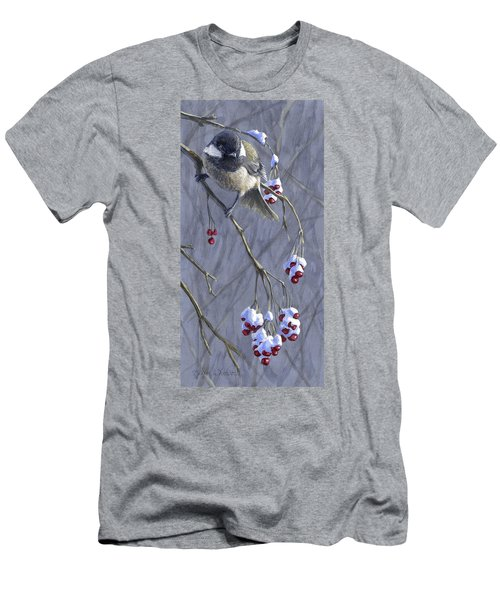 Winter Harvest 1 Chickadee Painting Men's T-Shirt (Athletic Fit)