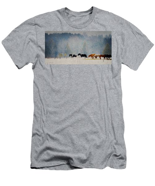 Men's T-Shirt (Slim Fit) featuring the photograph Winter Horses by Ann Lauwers