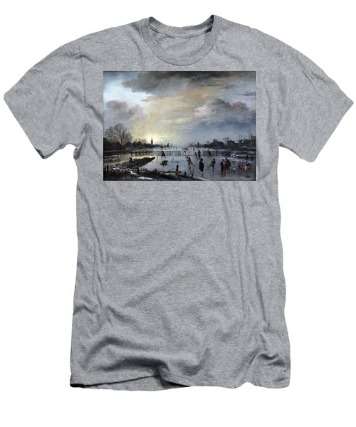 Men's T-Shirt (Slim Fit) featuring the painting Winter Landscape With Skaters by Gianfranco Weiss