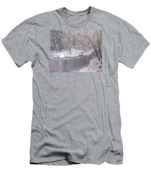 Men's T-Shirt (Slim Fit) featuring the painting Winter by Nina Mitkova