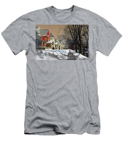 Men's T-Shirt (Slim Fit) featuring the pyrography Winter Scenery  by Viola El
