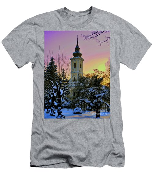 Men's T-Shirt (Slim Fit) featuring the photograph Winter Sunset by Nina Ficur Feenan