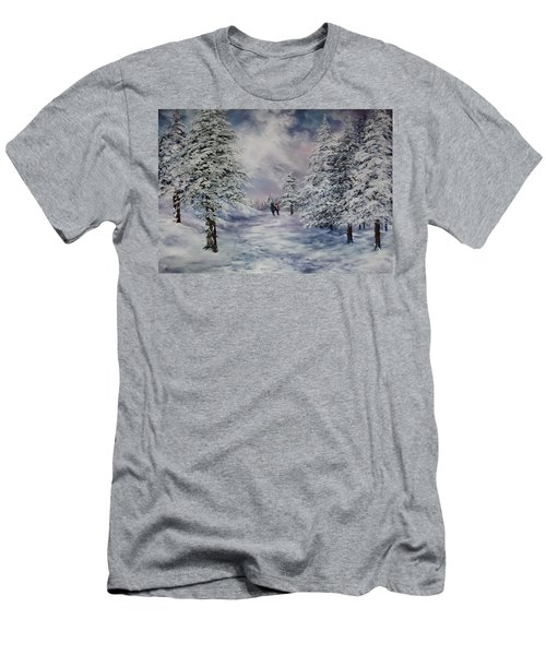 Men's T-Shirt (Slim Fit) featuring the painting Winter Walk On Cannock Chase by Jean Walker