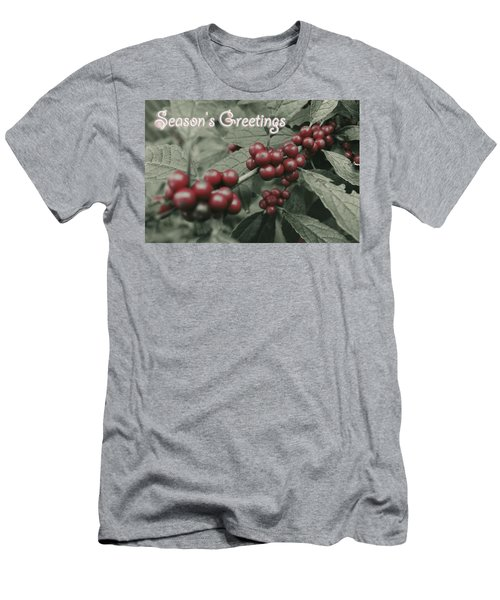 Men's T-Shirt (Slim Fit) featuring the photograph Winterberry Greetings by Photographic Arts And Design Studio