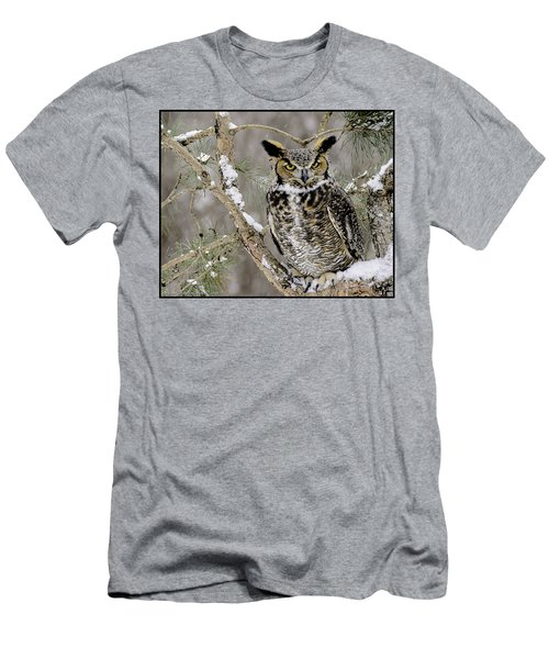 Wise Old Great Horned Owl Men's T-Shirt (Athletic Fit)