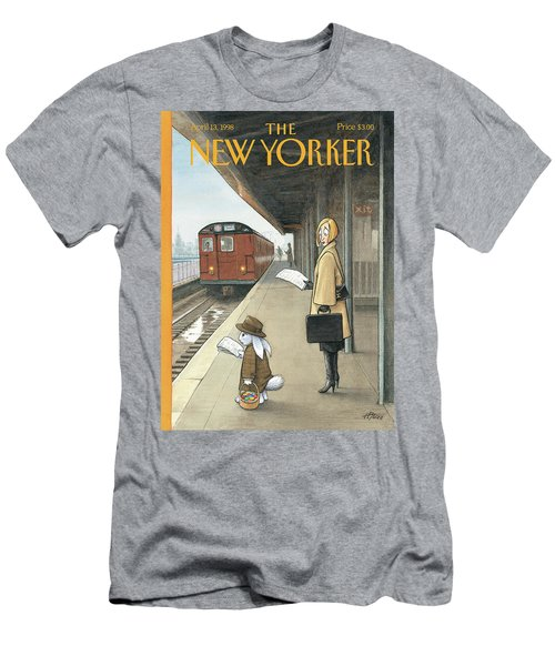 Woman On Train Platform Looking At Easter Bunny Men's T-Shirt (Athletic Fit)