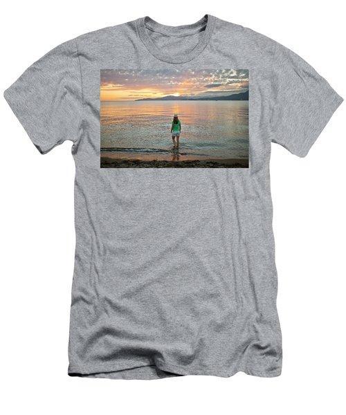 Woman Standing At Kitsilano Beach Men's T-Shirt (Athletic Fit)