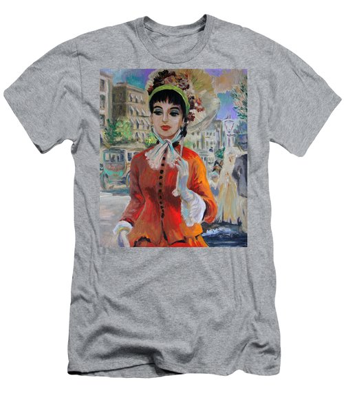 Woman With Parasol In Paris Men's T-Shirt (Athletic Fit)