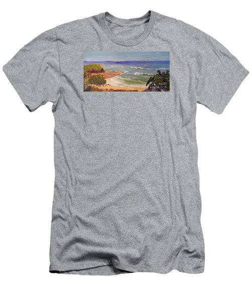 Men's T-Shirt (Slim Fit) featuring the painting Wombarra Beach by Pamela  Meredith