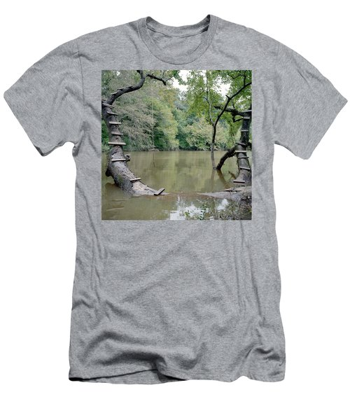 Wood Steps Climb A Tree Trunk To A Rope Men's T-Shirt (Athletic Fit)