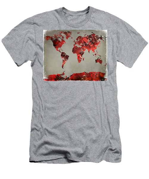 World Map - Watercolor Red-black-gray Men's T-Shirt (Athletic Fit)
