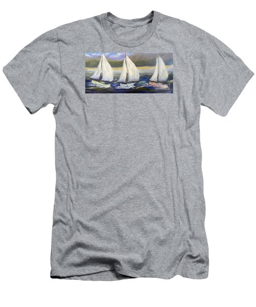 Yachts Sailing Off The Coast Men's T-Shirt (Slim Fit) by Pamela  Meredith