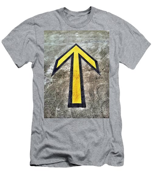 Yellow Directional Arrow On Pavement Men's T-Shirt (Athletic Fit)