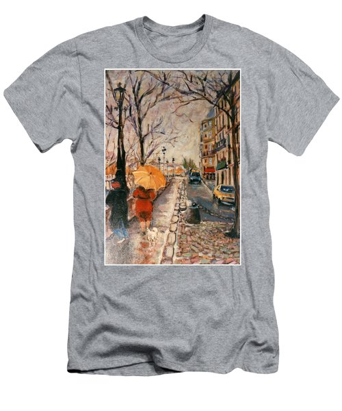 Men's T-Shirt (Slim Fit) featuring the painting Yellow Umbrella by Walter Casaravilla