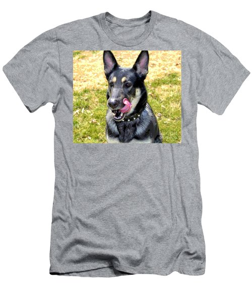 Men's T-Shirt (Slim Fit) featuring the photograph German Shepherd - Yum - Luther Fine Art by Luther Fine Art