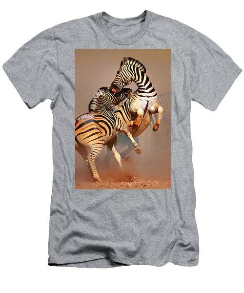Zebras Fighting Men's T-Shirt (Slim Fit) by Johan Swanepoel
