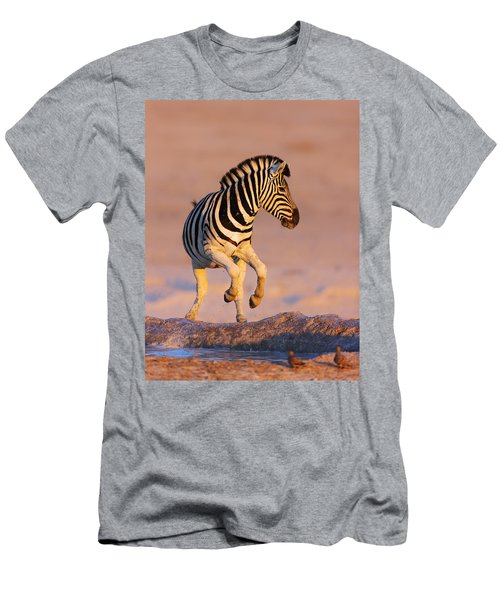 Zebras Jump From Waterhole Men's T-Shirt (Athletic Fit)