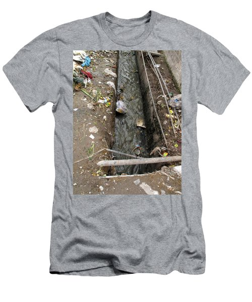 A Dirty Drain With Filth All Around It Representing A Health Risk Men's T-Shirt (Slim Fit) by Ashish Agarwal