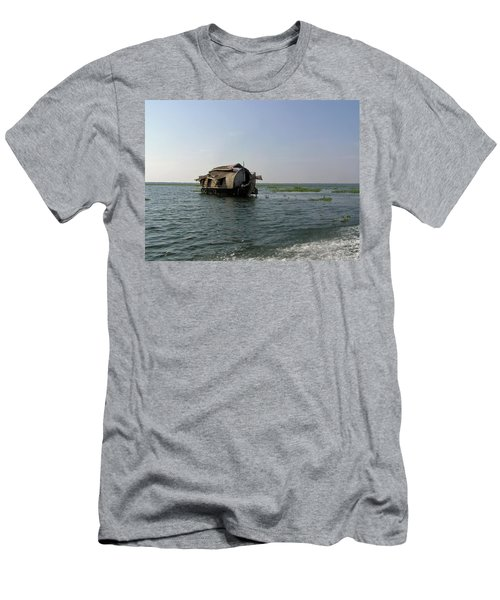 A Houseboat Moving Placidly Through A Coastal Lagoon In Alleppey Men's T-Shirt (Slim Fit) by Ashish Agarwal