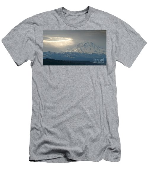A Ring Of Bright Light Beside Mount Rainier Men's T-Shirt (Slim Fit) by Sean Griffin