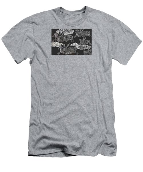Men's T-Shirt (Slim Fit) featuring the drawing And Sheep Can Fly by Nareeta Martin