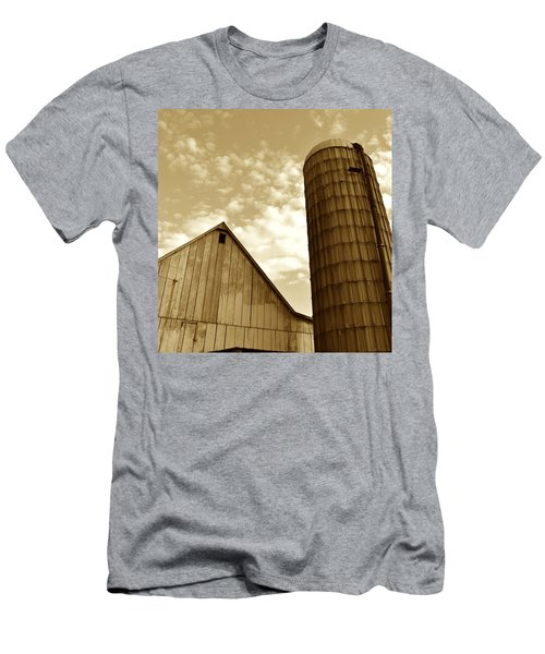 Barn And Silo In Sepia Men's T-Shirt (Athletic Fit)