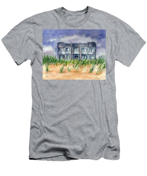 Men's T-Shirt (Slim Fit) featuring the painting Beach House by Clara Sue Beym