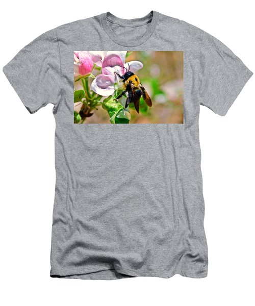 Men's T-Shirt (Slim Fit) featuring the photograph Bee On An Apple Blossom by Susan Leggett