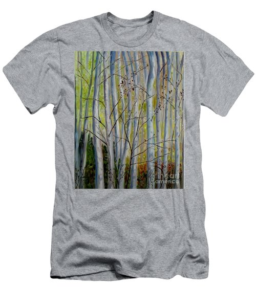 Men's T-Shirt (Slim Fit) featuring the painting Birch Forest by Julie Brugh Riffey