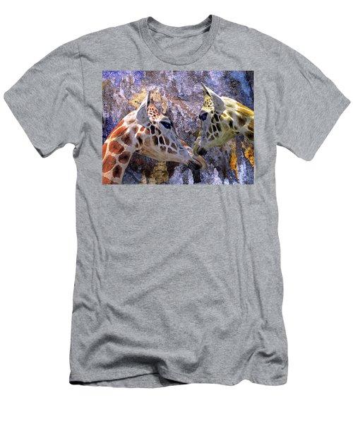 Blue Cave Giraffes Men's T-Shirt (Athletic Fit)