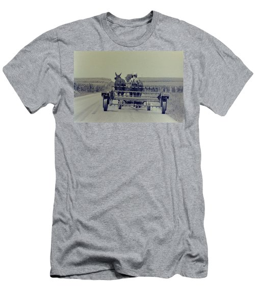 Men's T-Shirt (Slim Fit) featuring the photograph Boy Heads To Work by Mike Martin